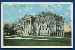Law Building University of Kansas Lawrence old white bordered postcard