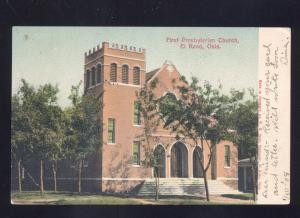 EL RENO OKLAHOMA FIRST PRESBYTERIAN CHURCH ANTIQUE VINTAGE POSTCARD 1906