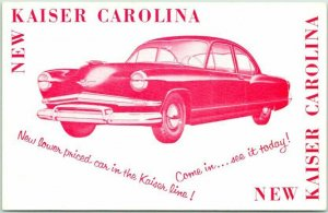 1953 KAISER CAROLINA Automobile Car Advertising Postcard Frazer Chrome Unused