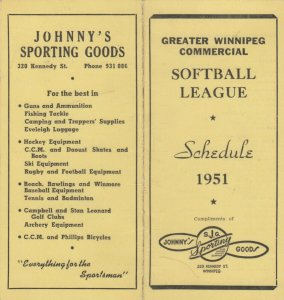 WINNIPEG, Manitoba, Canada, 1951 ; Bi-fold Softball League Schedule