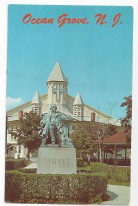 NJ Ocean Grove Auditorium and Stokes Monument Vintage Postcard