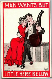 Man with Sweetheart, Giant Pipe Artist Bernhardt Wall c1912 Postcard A29