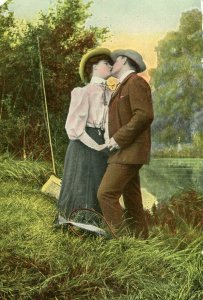 Antique Postcard Couple kissing Fly Fishing outdoor Germany colorized