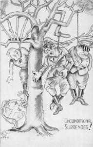 F62/ Patriotic Postcard Anti-Hitler WWII c40s Propaganda Hanging Tree 8