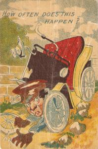 Car accident, How often does this happen Huorous antique postcard