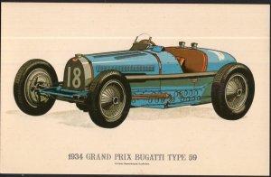 Classic Race Car Postcard 1934 Grand Prix Bugatti Type 59 - Divided Back