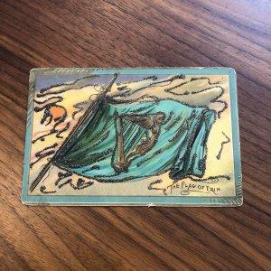 Antique St Patricks Day Postcard TUCK 'The Flag of Erin' Emerald Isle GLITTER