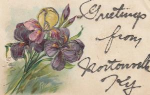 NORTONVILLE, Kentucky, 1907; Greetings, embossed flowers, glitter detail