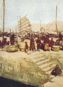 CE-005 China, Hong Kong, Harbor Divided Back Postcard Boat Sail People