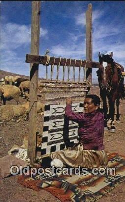 Navajo Weaver Indian Postcard, Post Card Photo by Bob Bradshaw Unused