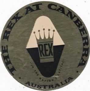 Australia Canberra Rex Hotel Vintage Luggage Label sk3767