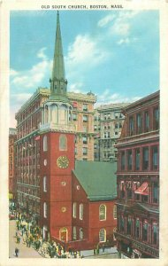 Boston MA Old South Church 1938 Postcard, People to Phoebe Downing, Plymouth NH