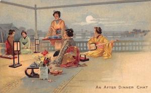 Geishas An After Dinner Chat Moonlight (Kent Half Penny Stamp) Postcard 1905