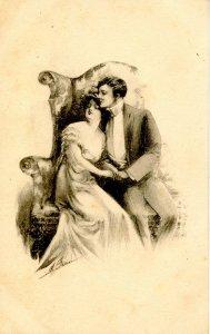 Romantic Couple - Artist: M. Farini  (B&W)