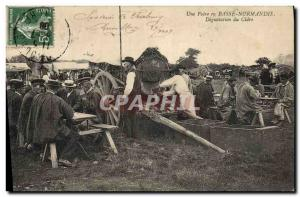 Old Postcard Folklore Wine Vineyard Harvest A fair in Normandy cider tasting TOP