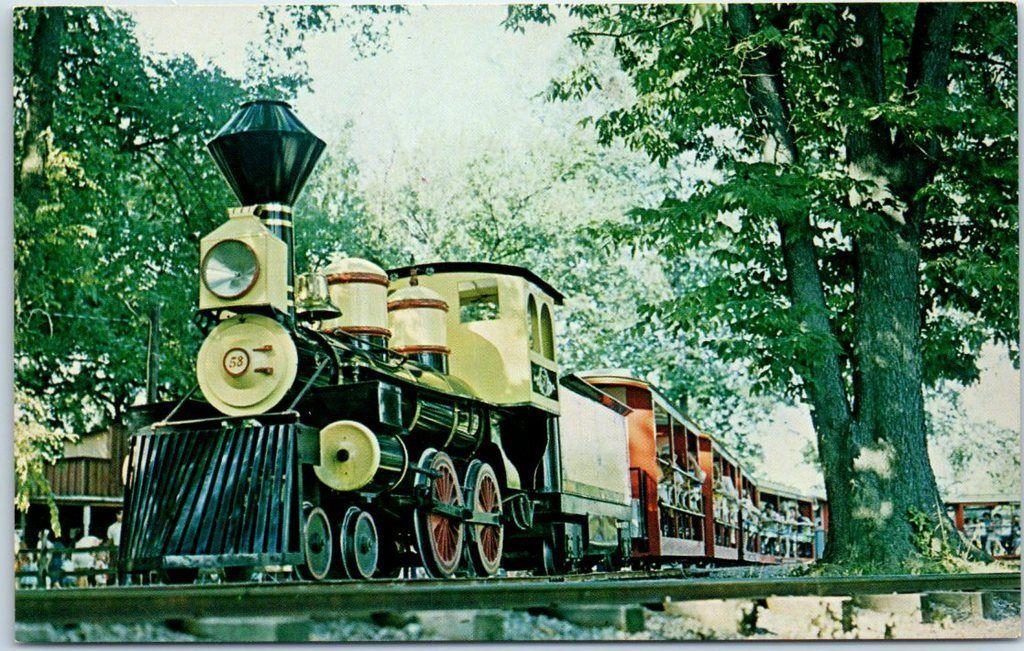 Middletown OH Postcard LeSourdsville Lake Amusement Park Iron Horse Train  c1950s / HipPostcard