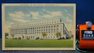 STD Vintage Department of the Interior Washington DC Posted 1944 Linen