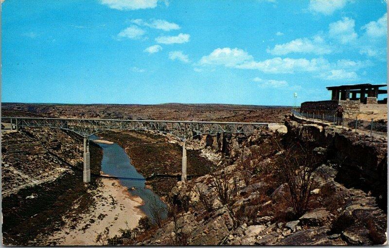 U. S. Highway 90 - PECOS RIVER HIGH BRIDGE - TEXAS - CHROME POSTCARD