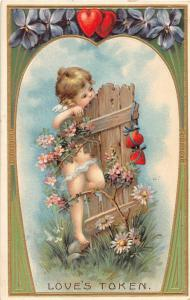 F12/ Valentine's Day Love Holiday Postcard c1908 Cupid Fence 25