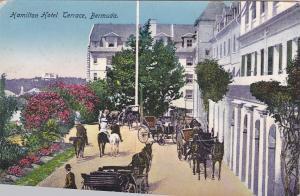 BERMUDA, 1900-1910s; Hamilton Hotel Terrace, Horse Drawn Carriages
