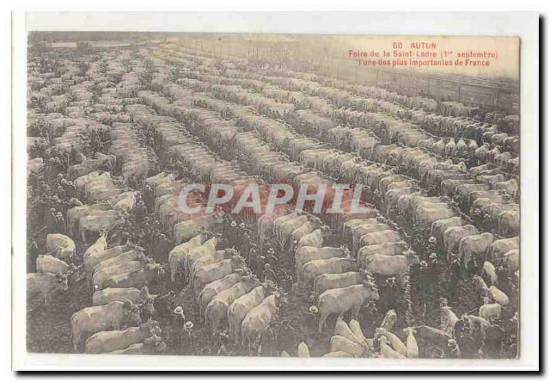 Autun Old Postcard Fair St. Ladre (1 September) the & # 39A larger than Franc...