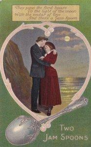 Romantic Couple, Poem, Two Jam Spoons, 1900-10s