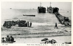U.S. Navy - Beach Scene Showing Landing Ship Tank (Military)