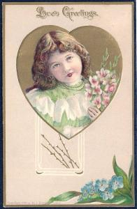 Loves Greetings  Little Girl with Flowers used c1908