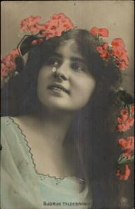 German Dance Artist Gudrun Hildebrandt c1910 Tinted Real Photo Postcard
