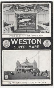 Somerset; Grand Pier, Weston Super Mare, Pavilion & Bandstand PPC, 1911 PMK