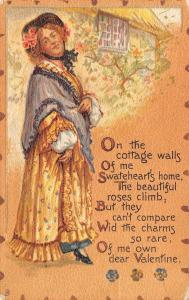 Valentine~Country Lady Dignified Poem~Roses Cottage~Rare Charm~TUCK Leatherette