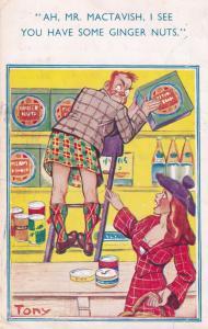 Scottish Ginger Nuts Under Kilt Comic Humour Postcard