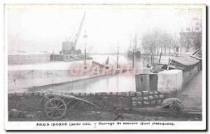 Old Postcard Paris Dam Floods Relief Quai Malaquais
