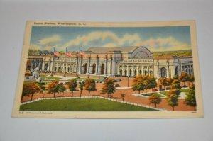 Linen 1930-1945 Union Station Washington D. C. Rail Road White Granite USA Trans