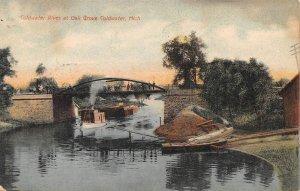 Tug & Barge Oak Grove Coldwater River Michigan 1910 postcard