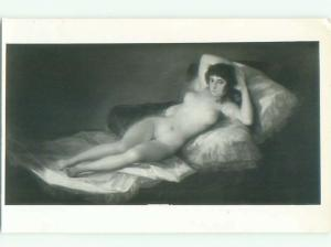 rppc Old Risque NUDE WOMAN - PAINTING ON POSTCARD AC8821