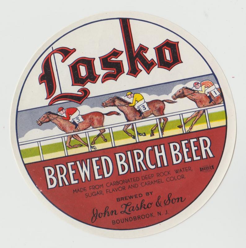 VINTAGE food label LASKO BREWED BIRCH BEER antique BOUNDBROOK NJ