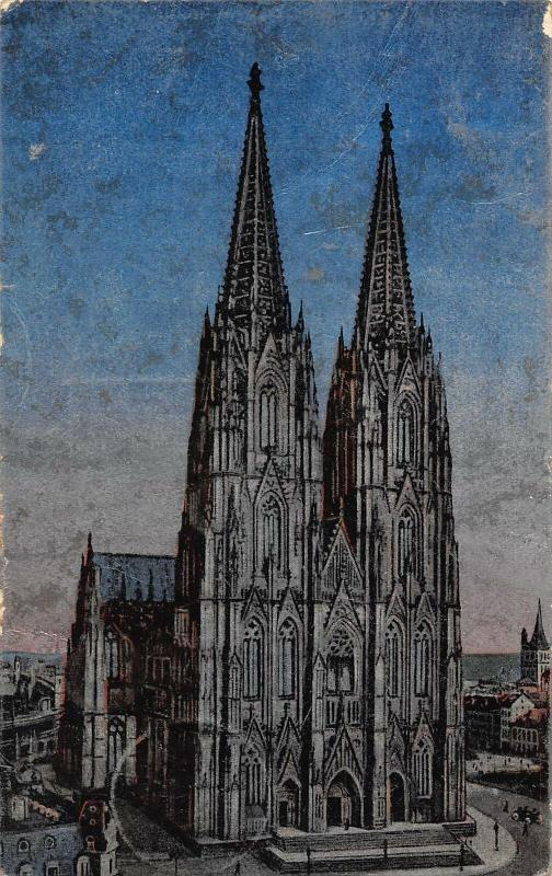 Coln am Rhein Cathedral Front view Dom Postcard