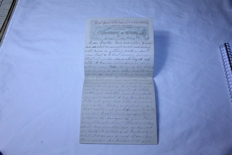Vintage 1889 Hand Written 5 Page Letter on Owosso Casket Works Stationary