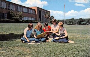 Baytown Texas~Lee College~Students Study on Lawn~Main Building~1970s Postcard