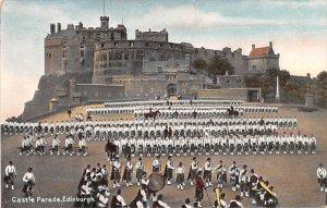 Scotland, UK Old Vintage Antique Post Card Castle Parade Edinburgh Unused