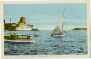 W/B Glimps of Saint John Harbor New Brunswick NB 1956