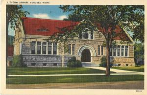Lithgow Library Augusta Maine ME 1949 Linen