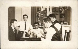 Young Men Playing Cards Drinking Smoking Pictures & Masks on Wall c1910 RPPC