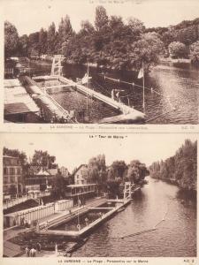 La Varenne Plage 2x Swimming Pool Old Postcard s