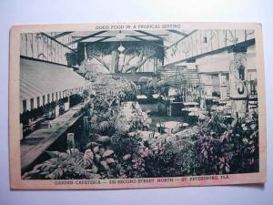 pre-1930 GARDEN CAFETERIA RESTAURANT St. Petersburg Florida FL Postcard y7619