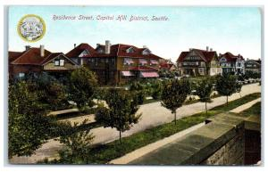 1909 Residential Street Scene, Capitol Hill District, Seattle, WA Postcard