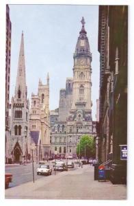 Philadelphia PA Postcard City Hall North Broad St Church