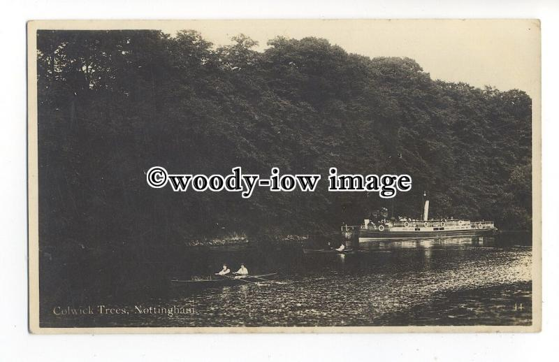 tq1664 - Notts - Steamer & Row Boats at Colwick Trees, Nottingham - postcard