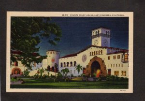 CA County Court House Santa Barbara California Linen Postcard